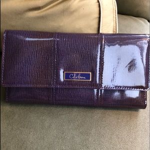 Cole haan purple patent trifold wallet